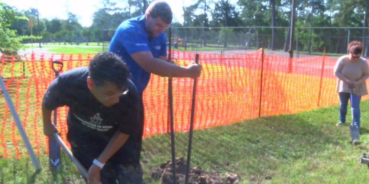 Leadership Lufkin breaks ground on playground equipment for disabled children