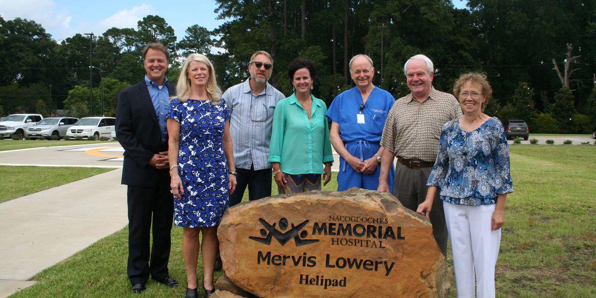 Nacogdoches Memorial helipad dedicated to Mervis Lowery
