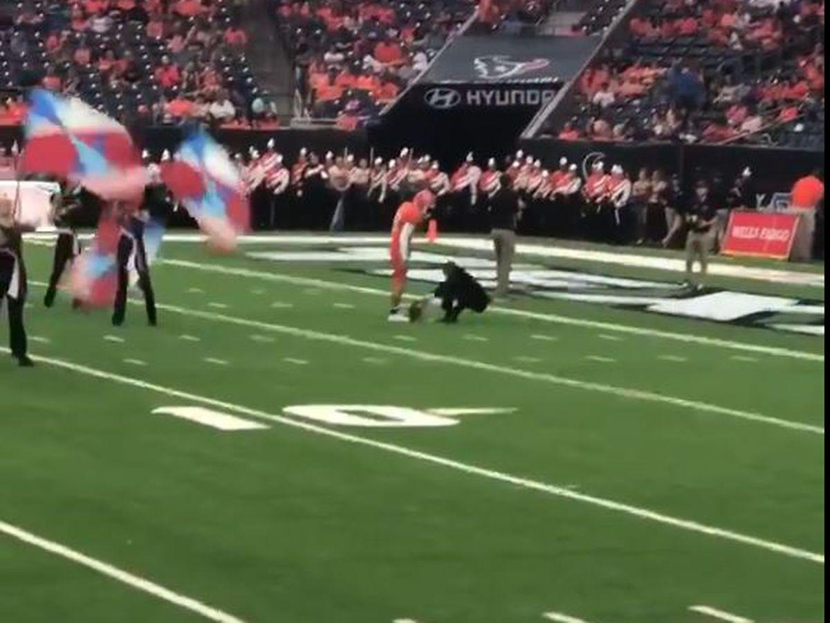 VIRAL VIDEO: Sam Houston player shoves SFA associate band director during halftime