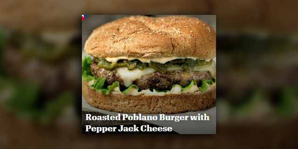 Roasted poblano burger with pepper jack cheese by Texas Beef Council