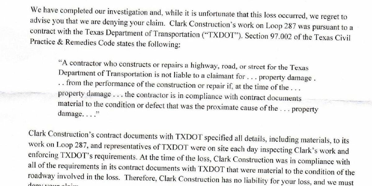 Letters show insurance companies won't cover damage for Lufkin loop incident