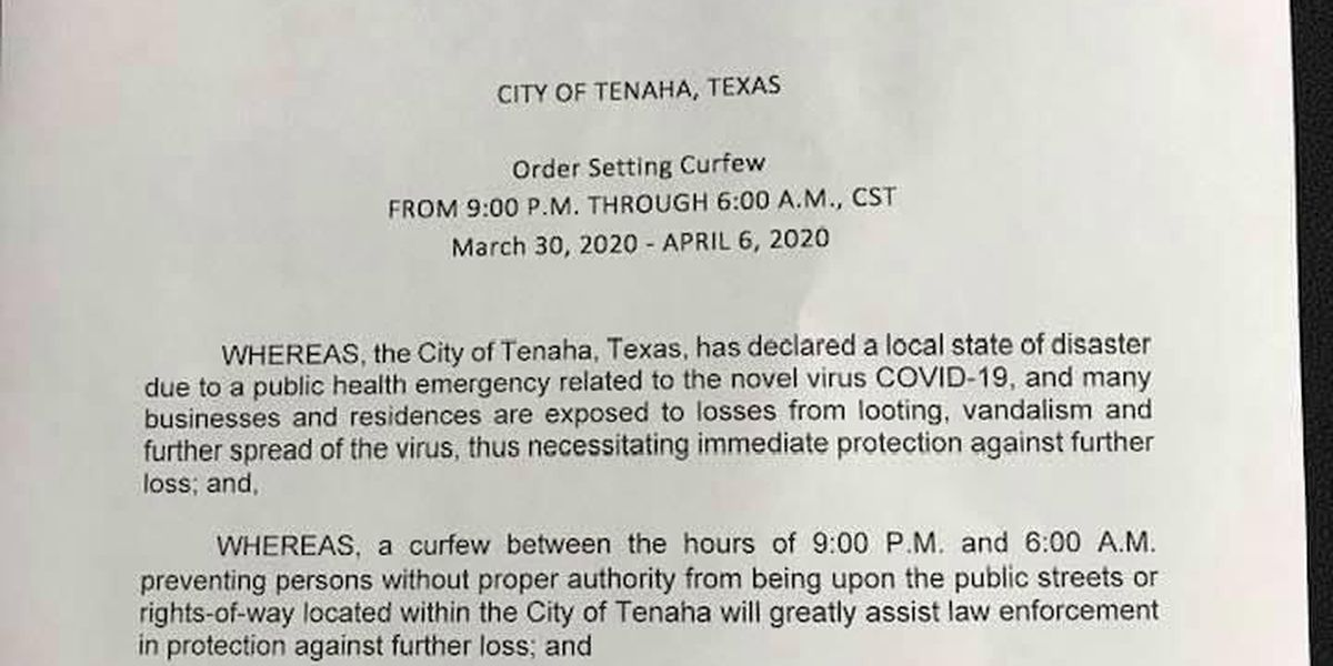 Tenaha officials issue 'stay home, stay safe order, curfew