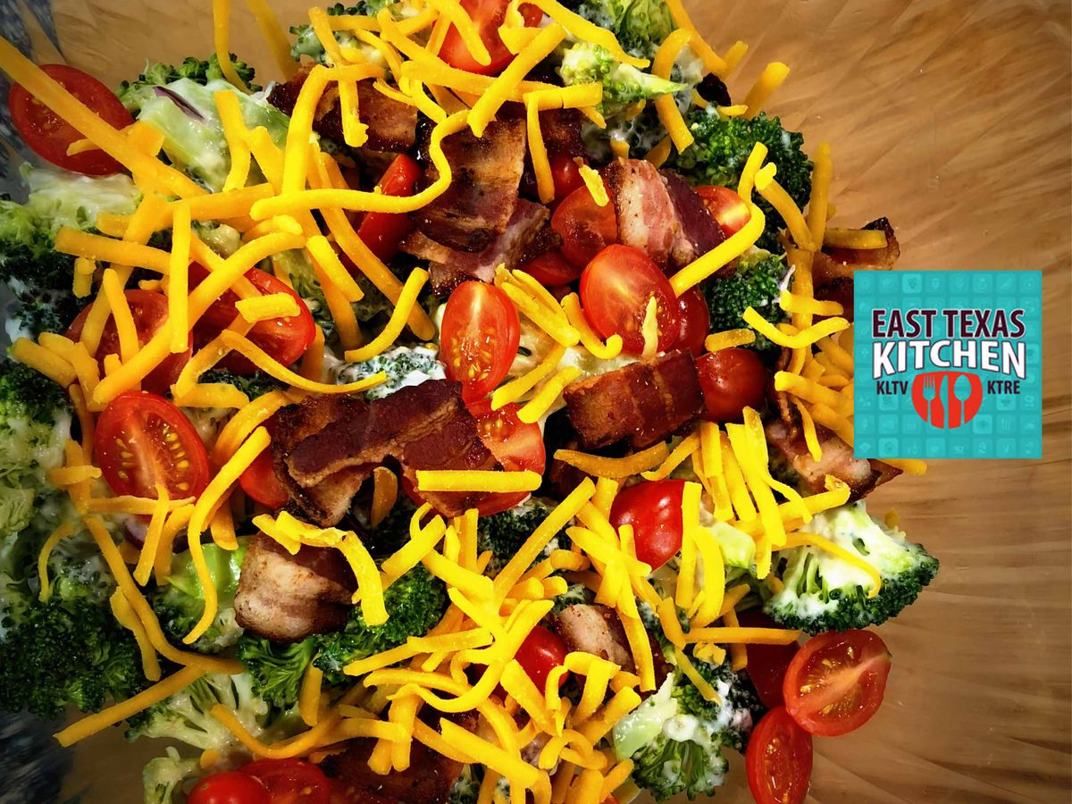 Creamy broccoli salad with sunflower seeds and cranberries