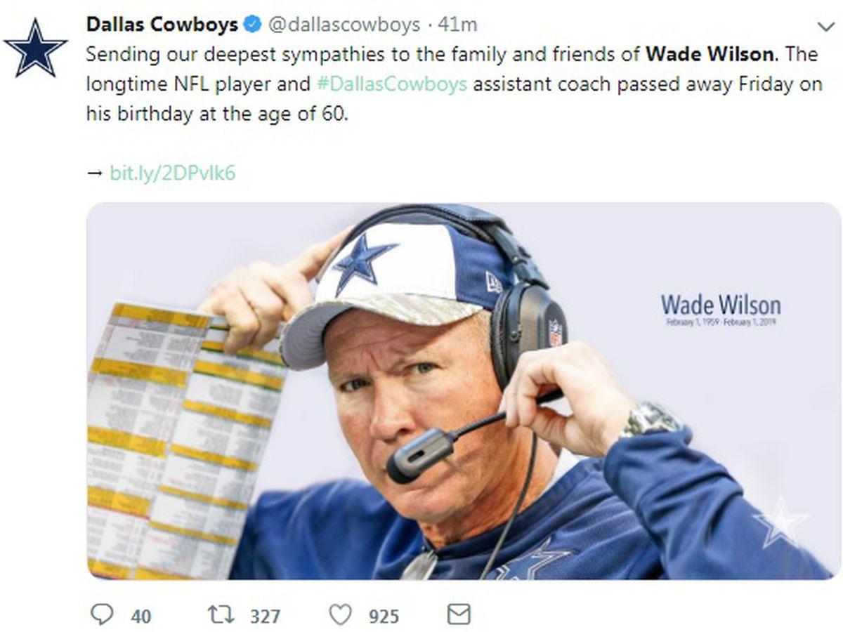 East Texan, former Dallas Cowboy Coach Wade Wilson died