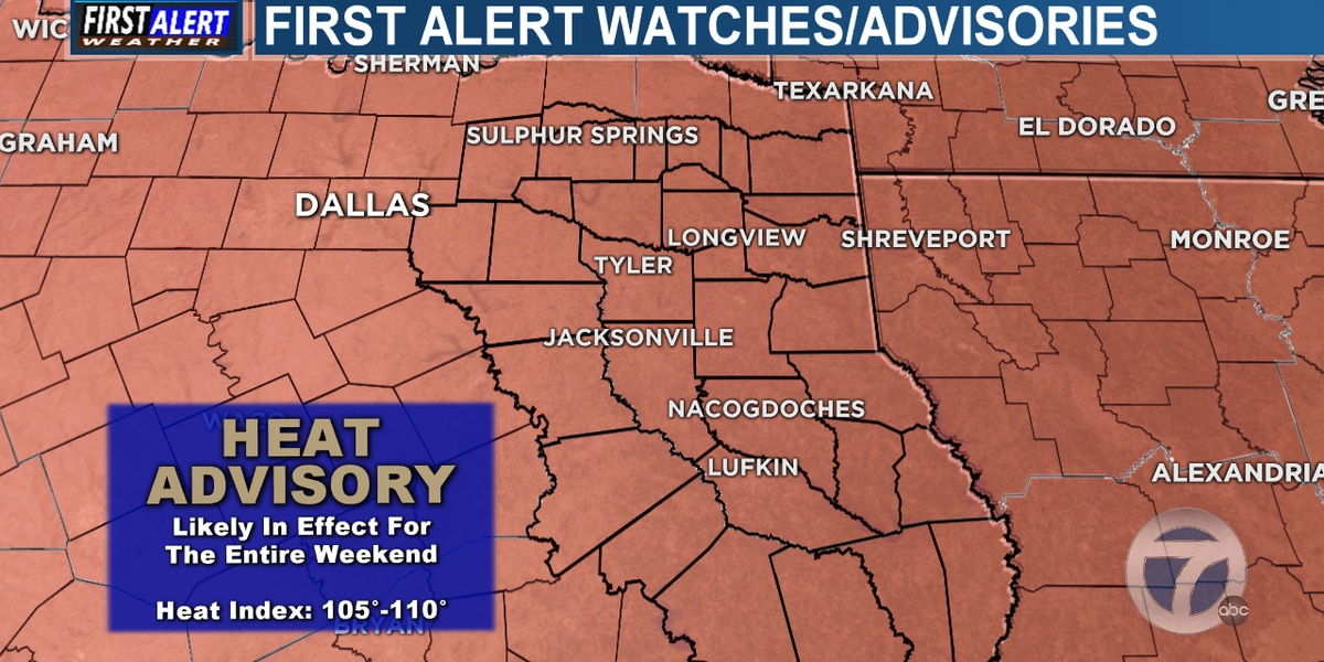 Heat advisories likely for much of East Texas through weekend