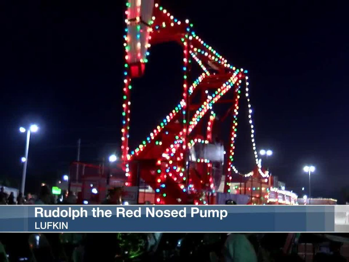 Rudolph the Red Nosed Pump lit in downtown Lufkin