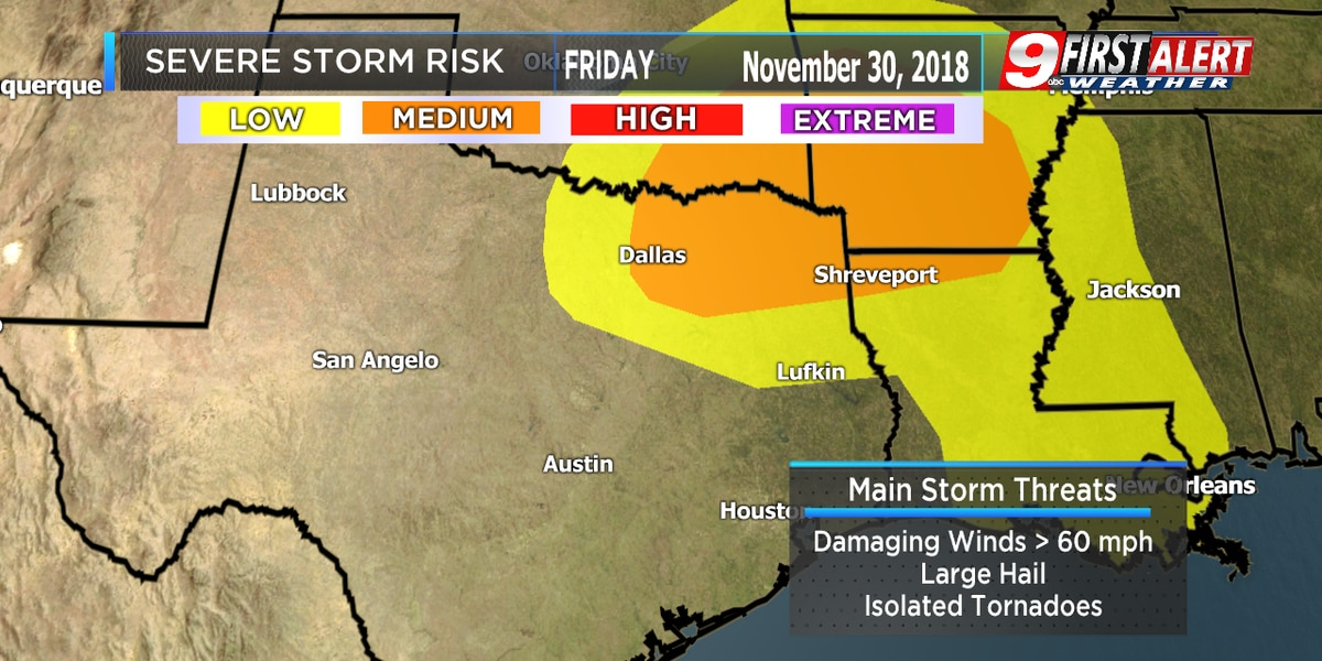 FIRST ALERT: Isolated severe storms possible in Deep East Texas area