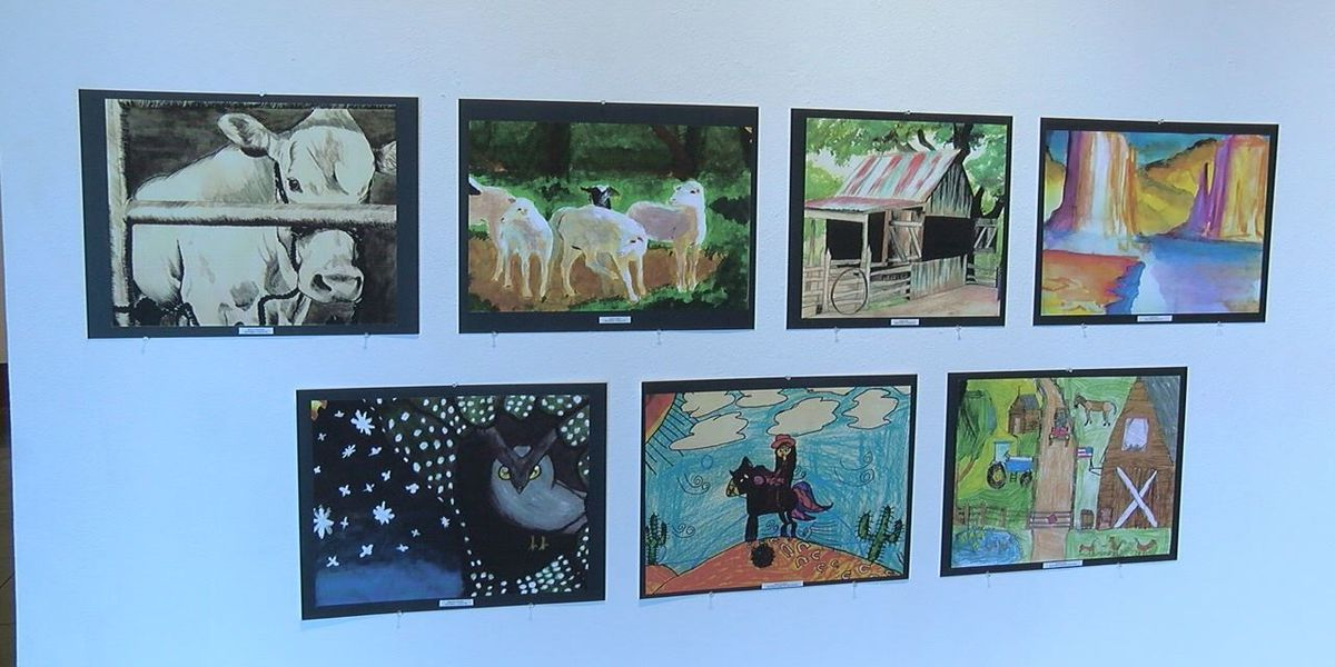 Museum of East Texas display artwork of students for livestock rodeo school art competition