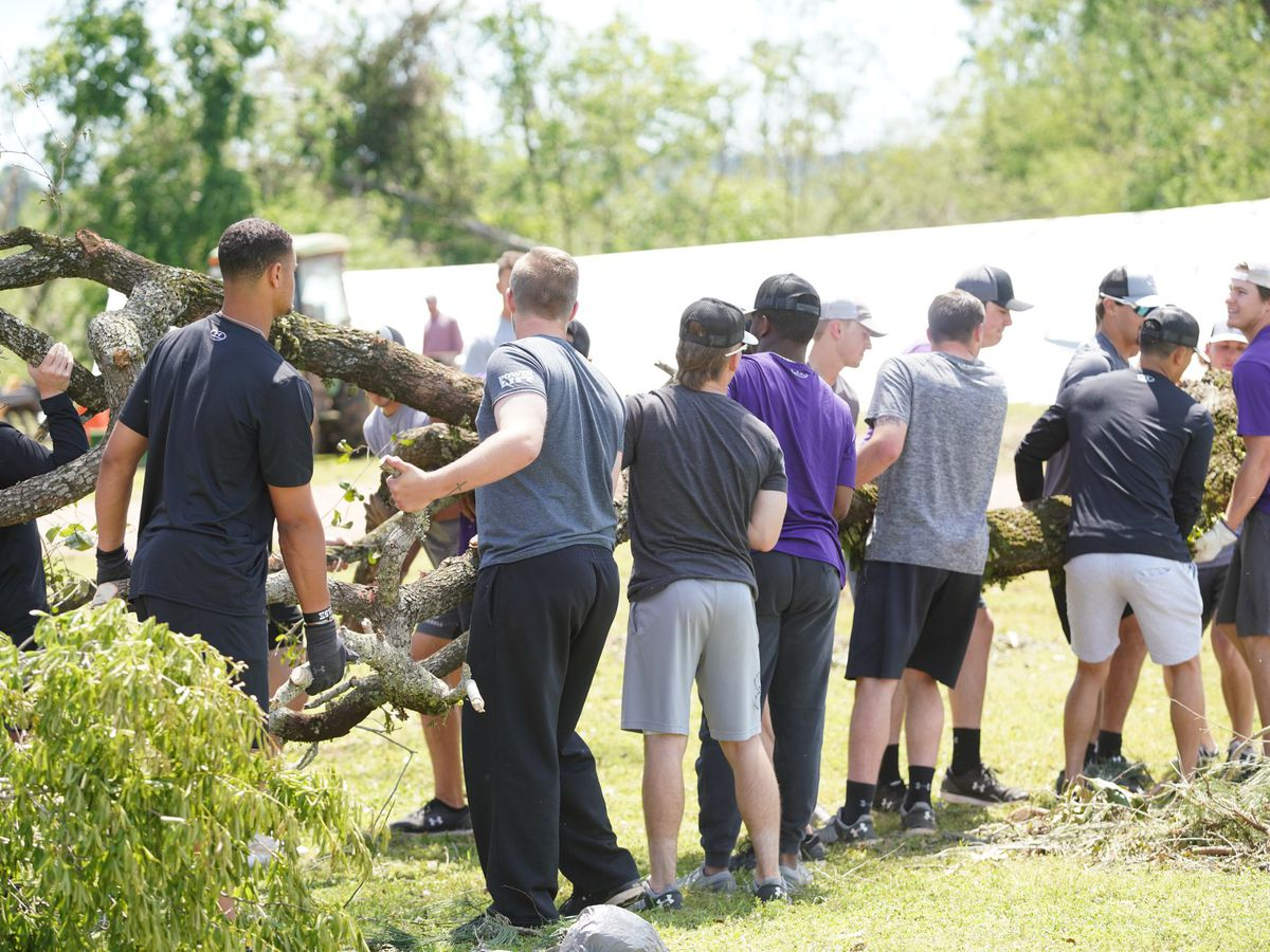 SFA baseball team helps with storm clean up at Caddo Mounds