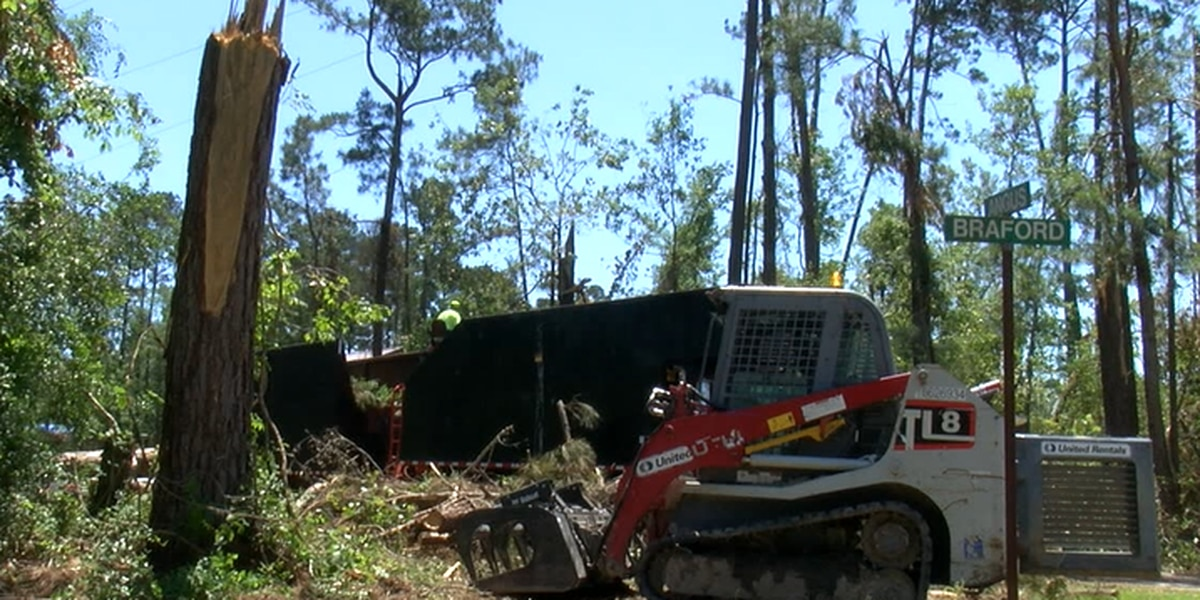 Crews bring in heavy equipment to help with debris cleanup in Polk County