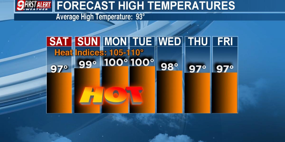 Heat advisories in Deep East Texas likely through the weekend