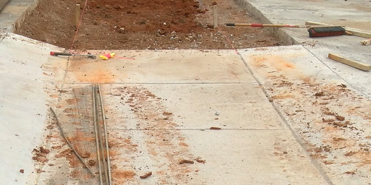 Crews work to expand sidewalks in the city of Nacogdoches